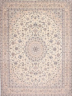 Persian Nain Blue Rectangle 10x13 ft Wool Carpet 29211