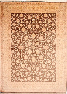 Persian Tabriz Beige Rectangle 10x13 ft Wool Carpet 29213