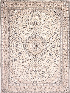 Persian Nain Blue Rectangle 10x13 ft Wool Carpet 29216