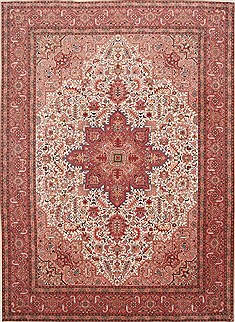 Persian Tabriz Beige Rectangle 8x11 ft Wool Carpet 29248