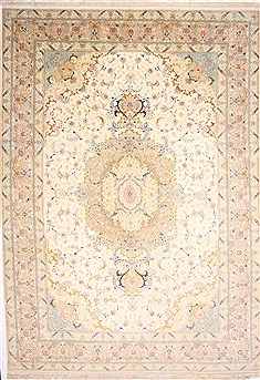 "Tabriz Beige Hand Knotted 11'3"" X 15'9""  Area Rug 254-29257"