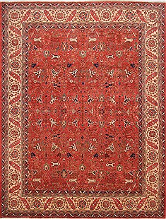 "Khorasan Red Hand Knotted 9'9"" X 12'9""  Area Rug 254-29306"