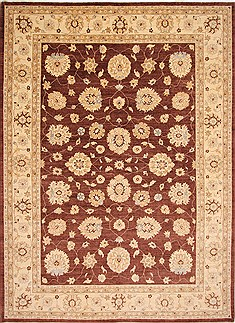 Pakistani Pishavar Beige Rectangle 10x14 ft Wool Carpet 29307