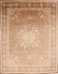 "Tabriz Brown Hand Knotted 9'11"" X 12'10""  Area Rug 254-29314"