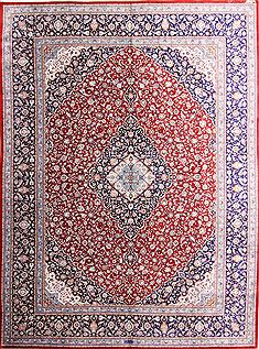 "Qom Red Hand Knotted 9'8"" X 13'0""  Area Rug 254-29340"
