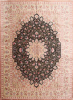 "Qum Beige Hand Knotted 9'10"" X 13'3""  Area Rug 254-29341"