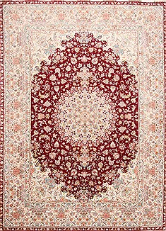 Persian Tabriz Red Rectangle 10x13 ft Wool Carpet 29345