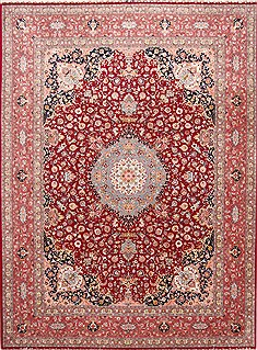 Persian Tabriz Blue Rectangle 10x13 ft Wool Carpet 29346