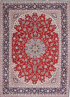 Persian Isfahan Red Rectangle 10x14 ft Wool Carpet 29354