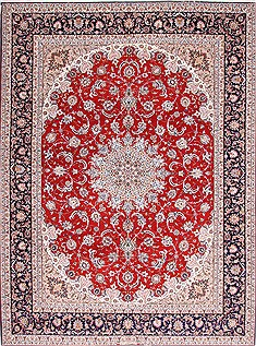 Persian Isfahan Red Rectangle 10x13 ft Wool Carpet 29360