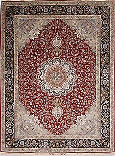 "Tabriz Green Hand Knotted 9'10"" X 13'3""  Area Rug 254-29370"