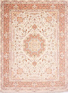 "Tabriz Purple Hand Knotted 9'10"" X 13'3""  Area Rug 254-29375"