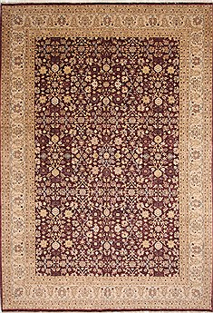 Pakistani Pishavar Beige Rectangle 10x14 ft Wool Carpet 29379