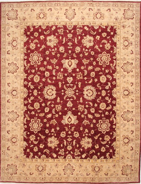 Pakistani Pishavar Beige Rectangle 12x15 Ft Wool Carpet