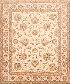Persian Tabriz Beige Rectangle 8x10 ft Wool Carpet 29471