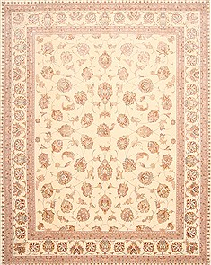 Persian Tabriz Beige Rectangle 8x10 ft Wool Carpet 29475