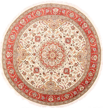Persian Tabriz Beige Round 9 ft and Larger Wool Carpet 29495