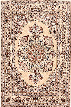 Persian Isfahan Beige Rectangle 5x8 ft Wool Carpet 29506