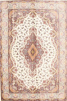 Persian Tabriz Beige Rectangle 5x8 ft silk Carpet 29515