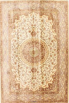 "Qum Beige Hand Knotted 5'2"" X 7'9""  Area Rug 254-29516"