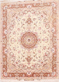 Persian Tabriz Beige Rectangle 5x7 ft Wool Carpet 29526