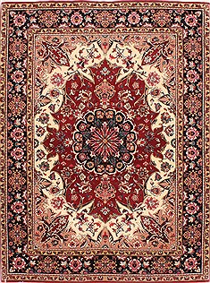"Tabriz Red Hand Knotted 5'0"" X 6'8""  Area Rug 254-29527"