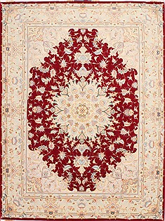 Persian Tabriz Red Rectangle 5x7 ft Wool Carpet 29528