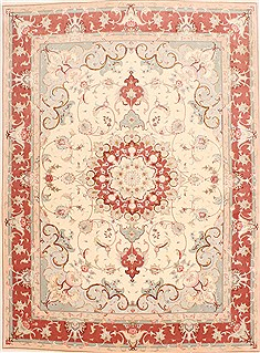 Persian Tabriz Brown Rectangle 5x7 ft Wool Carpet 29529