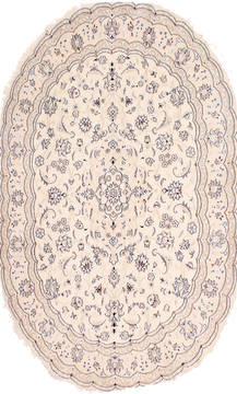 "Nain Blue Oval Hand Knotted 4'10"" X 6'8""  Area Rug 254-29533"