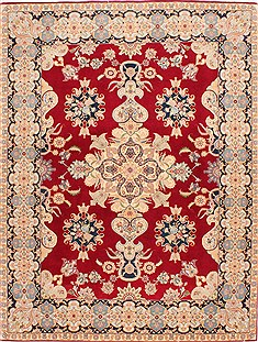 Persian Tabriz Beige Rectangle 5x7 ft Wool Carpet 29536