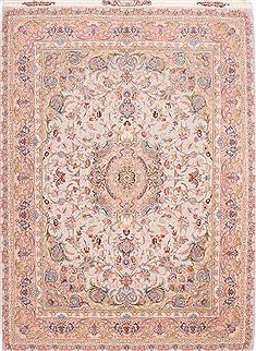 Persian Tabriz Beige Rectangle 5x7 ft Wool Carpet 29553