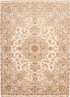 Persian Tabriz Beige Rectangle 5x7 ft Wool Carpet 29554