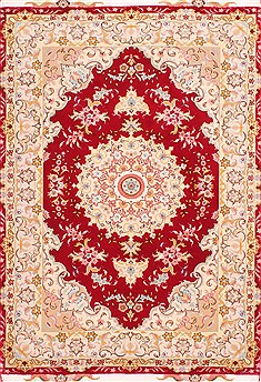 Persian Tabriz Red Rectangle 3x5 ft Wool Carpet 29572