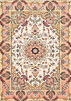"Tabriz Purple Hand Knotted 3'6"" X 5'0""  Area Rug 254-29575"