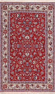 Persian Isfahan Red Rectangle 7x10 ft Wool Carpet 29586