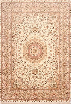 Persian Tabriz Beige Rectangle 8x10 ft Wool Carpet 29591