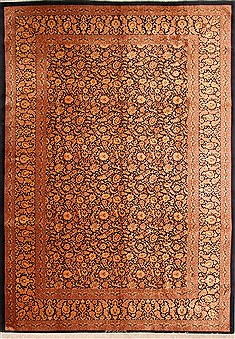 "Qum Yellow Hand Knotted 8'0"" X 11'6""  Area Rug 254-29593"