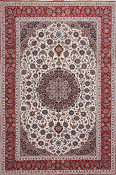 "Isfahan White Hand Knotted 8'5"" X 12'4""  Area Rug 254-29606"