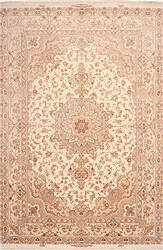"Tabriz Beige Hand Knotted 8'2"" X 12'3""  Area Rug 254-29607"
