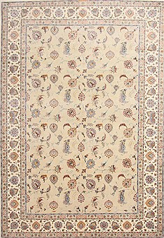 "Tabriz Beige Hand Knotted 8'2"" X 12'0""  Area Rug 254-29612"