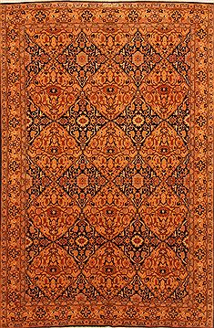 Romania Hamedan Orange Rectangle 6x9 ft Wool Carpet 29645