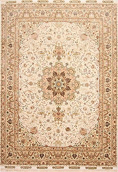 Persian Tabriz Beige Rectangle 8x11 ft Wool Carpet 29663