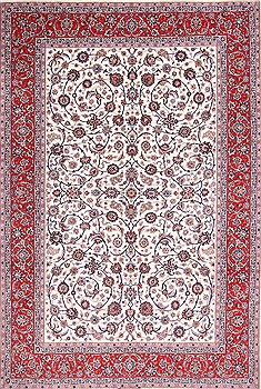 Persian Isfahan White Rectangle 8x11 ft Wool Carpet 29664