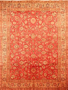 "Tabriz Red Hand Knotted 9'6"" X 12'8""  Area Rug 100-29713"