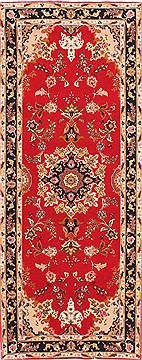 "Tabriz Red Runner Hand Knotted 2'8"" X 6'8""  Area Rug 254-29716"