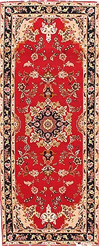 "Tabriz Red Runner Hand Knotted 2'8"" X 6'7""  Area Rug 254-29782"