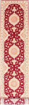 "Tabriz Red Runner Hand Knotted 2'9"" X 16'6""  Area Rug 254-29785"
