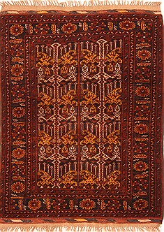"Kunduz Red Hand Knotted 3'4"" X 4'3""  Area Rug 100-29812"