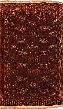 Afghan Bokhara Brown Rectangle 4x6 ft Wool Carpet 29816