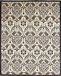 "Modern Black Hand Knotted 8'1"" X 9'8""  Area Rug 254-29841"
